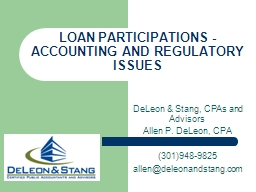 LOAN PARTICIPATIONS - ACCOUNTING AND REGULATORY ISSUES