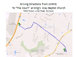 Driving Directions from JMRHS