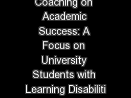 The Impact of Coaching on Academic Success: A Focus on University Students with Learning Disabiliti