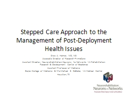 Stepped Care Approach to the Management of Post-Deployment Health Issues