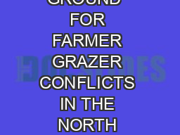 �IN SEARCH OF COMMON GROUND� FOR FARMER GRAZER CONFLICTS IN THE NORTH WEST REGION OF CAMEROON