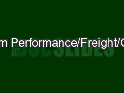 System Performance/Freight/CMAQ