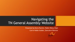 Navigating the  TN  General Assembly Website