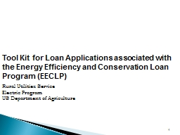 Tool Kit for Loan Applications associated with the Energy Efficiency and Conservation Loan Program