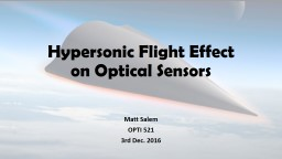 Hypersonic Flight Effect on Optical Sensors