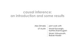 c ausal inference: an introduction and some results