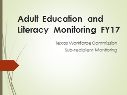 Adult Education and Literacy Monitoring PowerPoint PPT Presentation