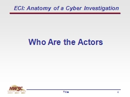 ECI: Anatomy of a Cyber Investigation
