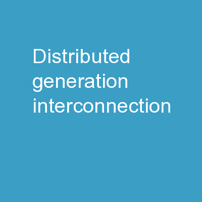 Distributed Generation Interconnection