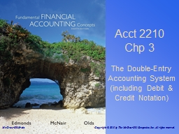 Acct 2210 Chp 3 The Double-Entry Accounting System (including Debit & Credit Notation)