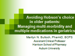 Avoiding  Hobson's choice in older patients: