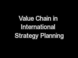 Value Chain in International Strategy Planning