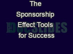 The Sponsorship Effect Tools for Success