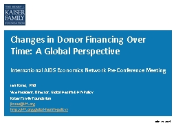 Changes in Donor Financing Over Time: A Global Perspective
