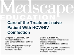 Care of the Treatment-naive  Patient With HCV/HIV Coinfection