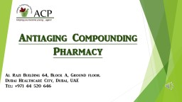 Antiaging Compounding Pharmacy
