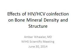 Effects of HIV/HCV coinfection on Bone Mineral Density and Structure