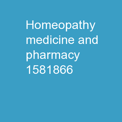 Homeopathy Medicine and Pharmacy