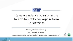 Review evidence  to inform the health benefits package reform