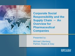 Corporate Social Responsibility and the Supply Chain  ─  An Overview for Pharmaceutical Companies