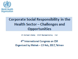 Corporate Social Responsibility in the Health Sector – Challenges and Opportunities