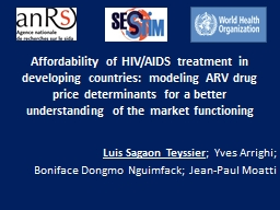 Affordability of HIV/AIDS treatment in developing countries: modeling ARV drug price determinants f