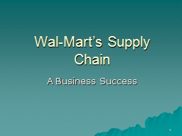 1 Wal-Mart's Supply Chain