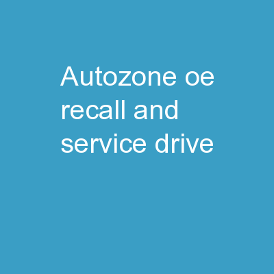 AutoZone OE Recall and Service Drive