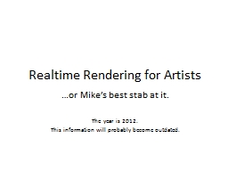 Realtime  Rendering for Artists