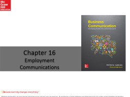 Chapter 16 Employment Communications