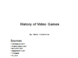 History of Video Games By