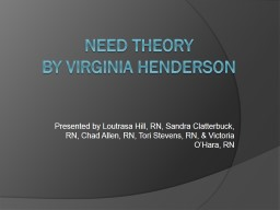 Need Theory By Virginia Henderson