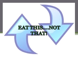 Eat This…Not That! EAT THIS….NOT THAT! PowerPoint PPT Presentation