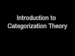 Introduction to Categorization Theory