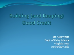 Building (and Keeping) Good Credit