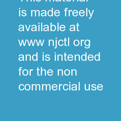 This material is made freely available at www.njctl.org and is intended for the non-commercial use