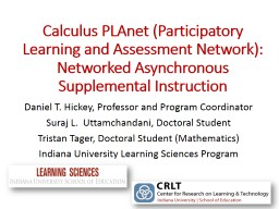 Calculus  PLAnet  (Participatory Learning and Assessment Network): Networked Asynchronous Supplemen