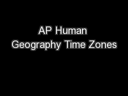 AP Human Geography Time Zones