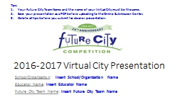 2016-2017 Virtual City Presentation