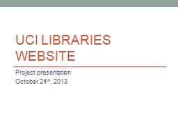 UCI libraries website Project presentation