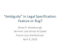 �Ambiguity� in Legal Specification: