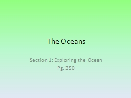 The Oceans Section 1: Exploring the Ocean