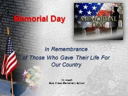 Memorial Day In Remembrance of the 1.3 Million Americans Who Gave Their Life For Our Country