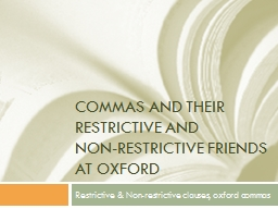 Commas and their restrictive and