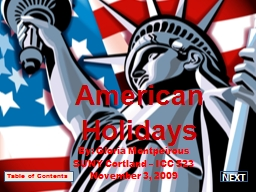 American  Holidays By: Gloria Montpeirous