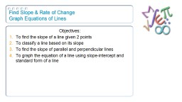 Find  Slope & Rate of Change
