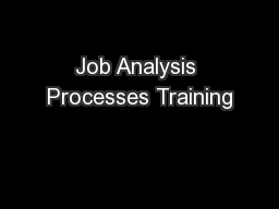 Job Analysis Processes Training