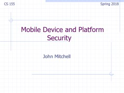 Mobile Device and Platform Security    PowerPoint PPT Presentation