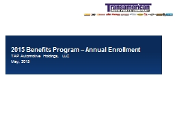 2015 Benefit Programs – Annual Enrollment