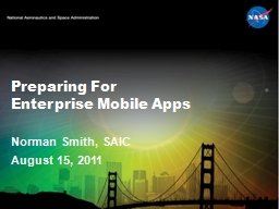 Preparing For  Enterprise Mobile Apps